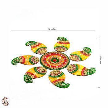 Diwali gifts - Handmade Wood and Clay Floral Floor Art for Diwali { Rangoli }