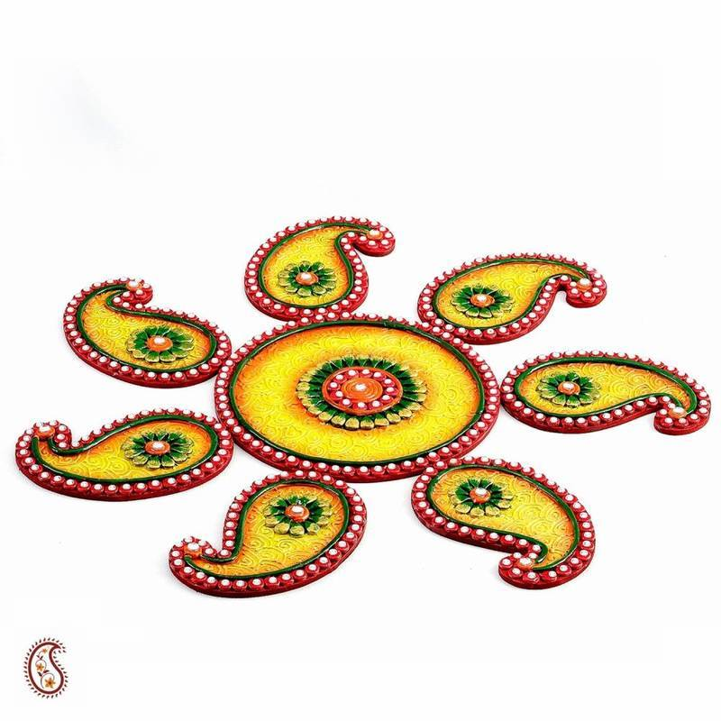 Buy diwali gift hampers yellow green and red wood clay keri diwali gift hampers yellow green and red wood clay keri floor art rangoli negle Choice Image