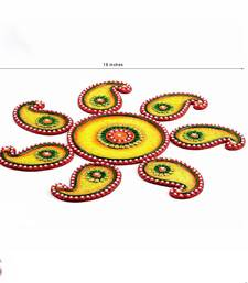 Buy Diwali Gift Hampers - Yellow, Green and Red Wood Clay Keri Floor Art { Rangoli } diwali-rangoli-design online