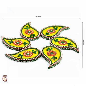 Diwali Gifts Ideas- Six piece Keri Wood and Clay Floor Art Diwali Set { Rangoli }