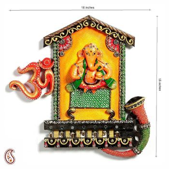 Lord Ganesh and Om wall hanging in wood and clay