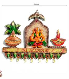 Buy Ganapati Kalash and Diya wood and clay wall d  cor other-home-accessory online