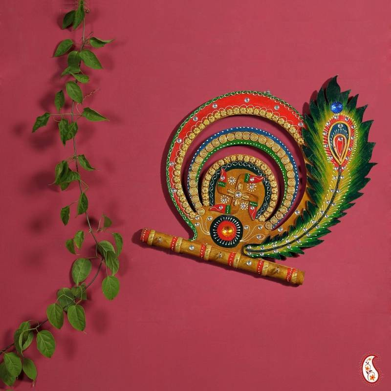 Diwali gifts offer swastika and peacock feather wood and clay key holder