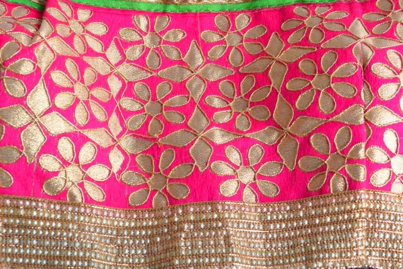 Buy Pink With Golden Border Gota Patti Cotton Traditional