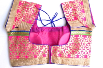 Pink with golden border gota patti Cotton Traditional Blouse