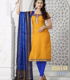 Buy KING SALES NEW LATEST FANCY YELLOW AND BLUE BANARASI LACE WORK HEAVY INDO CHUDIDAR SUIT salwars-and-churidar online