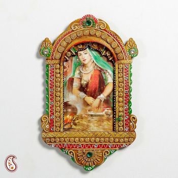 Handcrafted Jharokha in Honey Brown Wood and clay work