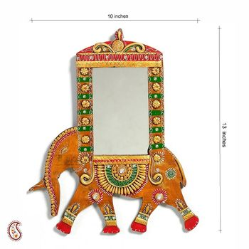 Royal Elephant in Wood and Clay Mirror