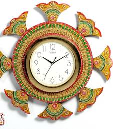 Wooden ship wheel clock with clay and kundan work shop online