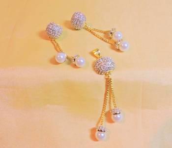 elegant pearl cz gold platted pendent set