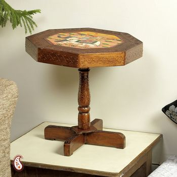 Handsomely styled Octagon Side table with Murals