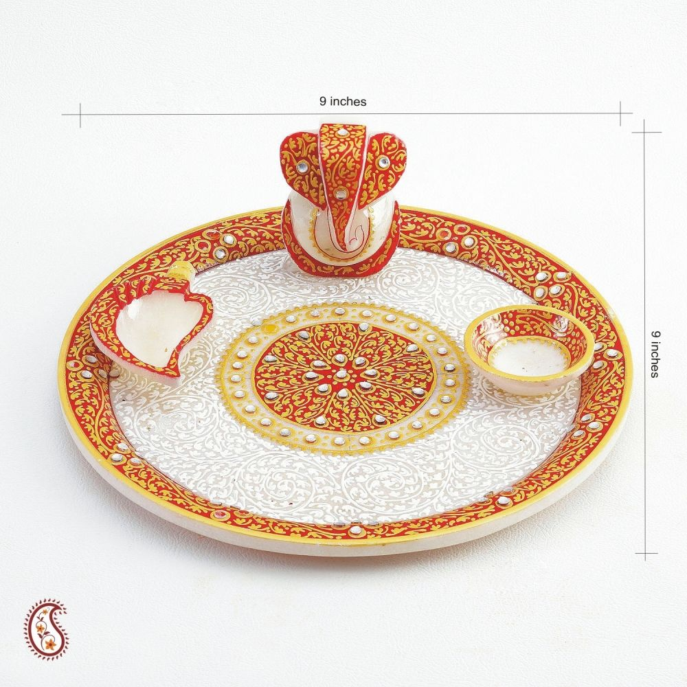 Buy white marble aarti thali with kundan work online for Aarti thali decoration with kundan