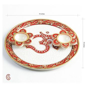 Om Aarti Thali in pure White Marble with Kundan work
