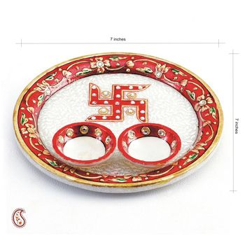 Aarti Thali with Hand Painted Swastika on Marble