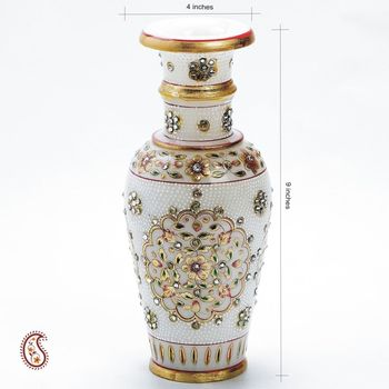 Pure Marble Vase with Embossed Gold Paint and Kundan work