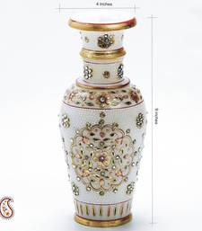 Buy Pure Marble Vase with Embossed Gold Paint and Kundan work diwali-gift online