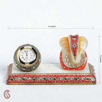 Marble Time Piece and Ganapati Table d  cor