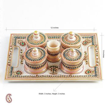 Enamel and Kundan work White Rajasthani Marble Tray with containers