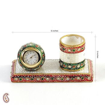 Marble Time Piece and Pen Holder studded with Kundans