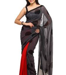 Buy Black and Red georgette saree 502 georgette-saree online