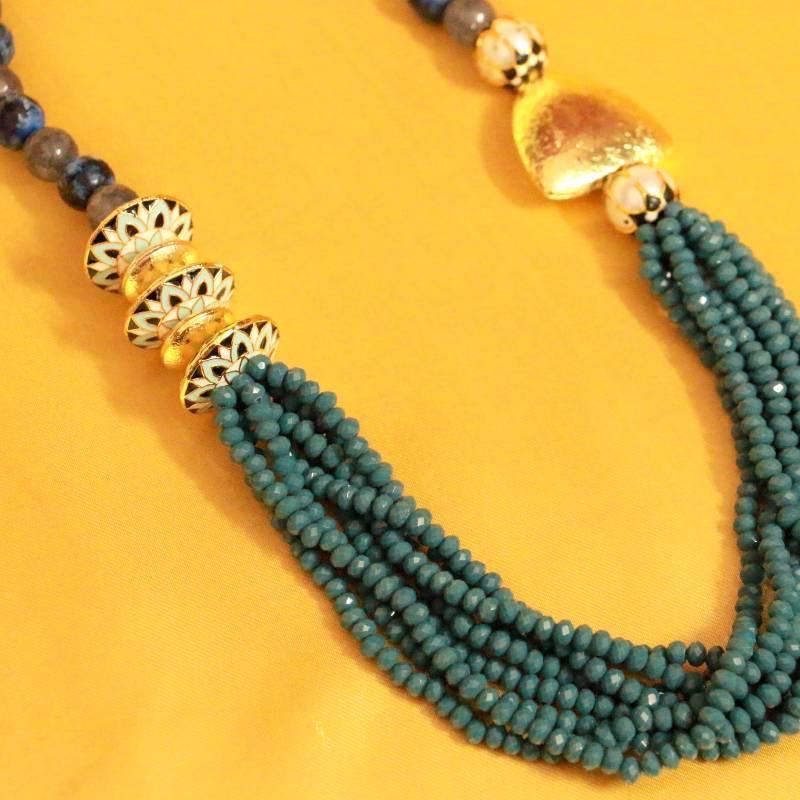 Kanjivaram Beads: Grey Indo Western Meenakari Beads Necklace