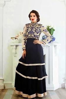 78144ca02a4 Dark Blue embroidered georgette semi stitched salwar with dupatta