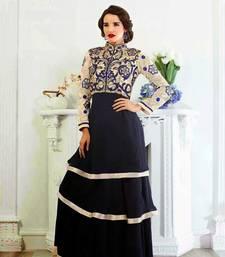 Buy Dark Blue embroidered georgette semi stitched salwar with dupatta collar-neck-design online