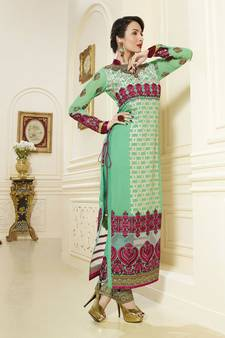 62634fe8971 Green embroidered georgette semi stitched salwar with dupatta