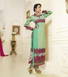 Buy Green embroidered georgette semi stitched salwar with dupatta collar-neck-design online
