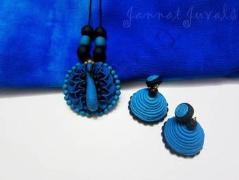 Peacock Blue Pendant chain with Jhumka