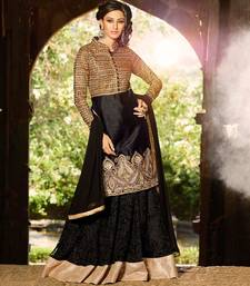 Black and Golden embroidered art silk semi stitched salwar with dupatta