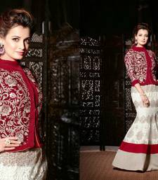 Buy Red and Cream embroidered velvet semi stitched salwar with dupatta party-wear-salwar-kameez online