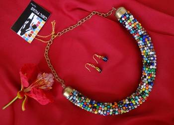 Blue Bead Necklace with Earrings