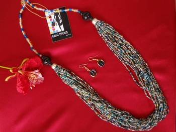 Blue Diva Long Bead necklace with Earrings
