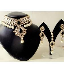 Buy Black Beauty Party Wear Kundan & Pearl Bridal Choker Set necklace-set online