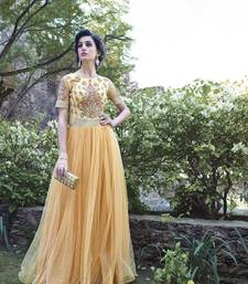 Buy Beautiful Soft Net Hand Embroidered Beige Coloured Wedding Traditional Gowns party-wear-gown online