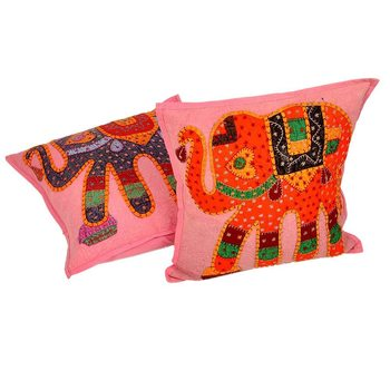 Hand Embroidered Patch Work Cushion Covers Pair Diwali Special Gift 803