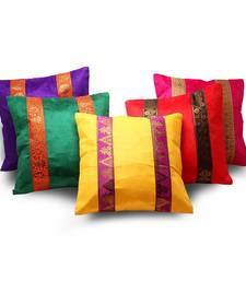 Brocade Striped Assorted 5 Pc. Cushion Covers Set Deepawali Gift 458