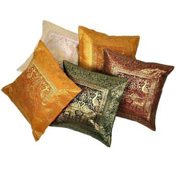 Charming Multicolor Brocade 5 Pc Cushion Cover Set Diwali Special Gift 431