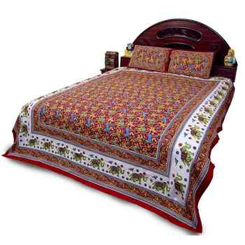 Jaipuri Elephant Print Red Double Bed Sheet Set Deepawali Special Gift 27R
