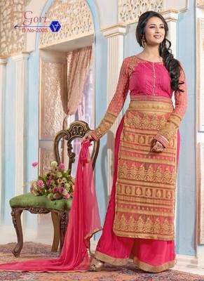 a90cc088c5b Vandv Divyanka Tripathi Pink Plazo Style Long Salwar Suit - V and V ...