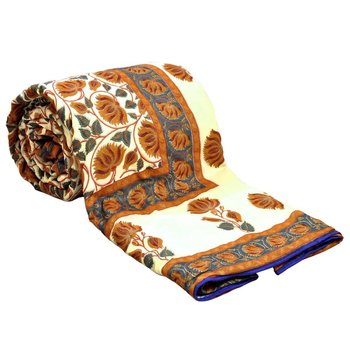 Jaipuri Style Golden Print Double Bed Ac Comforter Diwali Special Gift 301