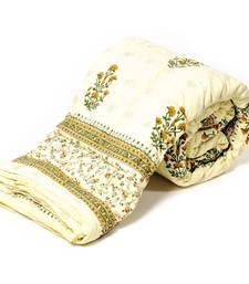 White Base Hand Block Printed Cotton Double Quilt Deepawali Special Gift 320