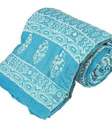 Traditional Booti Print Cotton Single Bed Quilt Deepawali Gift 114