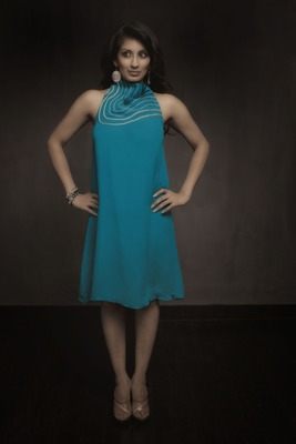 Aqua Halter Neck Dress