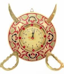 Rajasthani Real Brass Sword Armour Wall Clock Diwali Gift 107