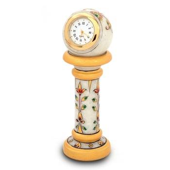 Ethnic Design Marble Table Clock Handicraft Diwali Special Gift 145