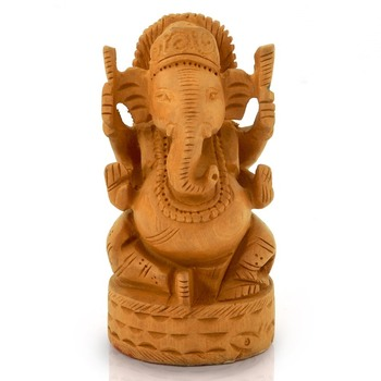 Fine Carved Lord Ganesha Design Wooden Gift Diwali Gift 167