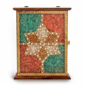 Handmade Antique Wooden Key Holder Gemstone Deepawali Special Gift 170