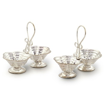 Silver Polished Double Dia Baati Stand Pair Diwali Gift 229